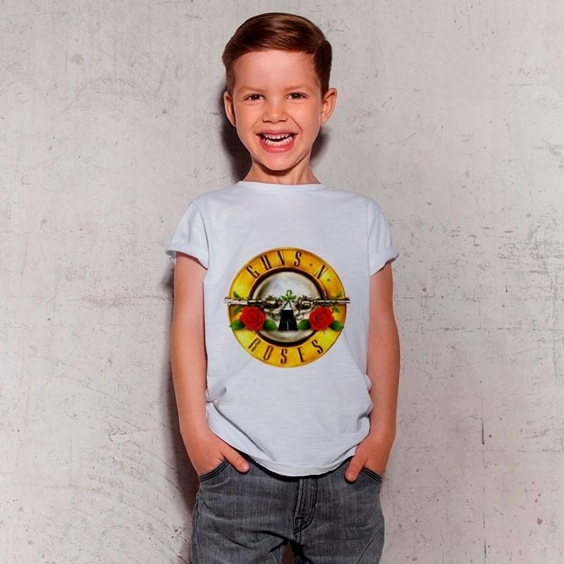 Camiseta Infantil Guns N Roses Branca