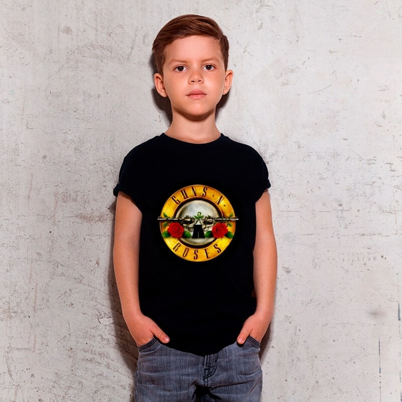 Camiseta Infantil Guns N Roses Preta