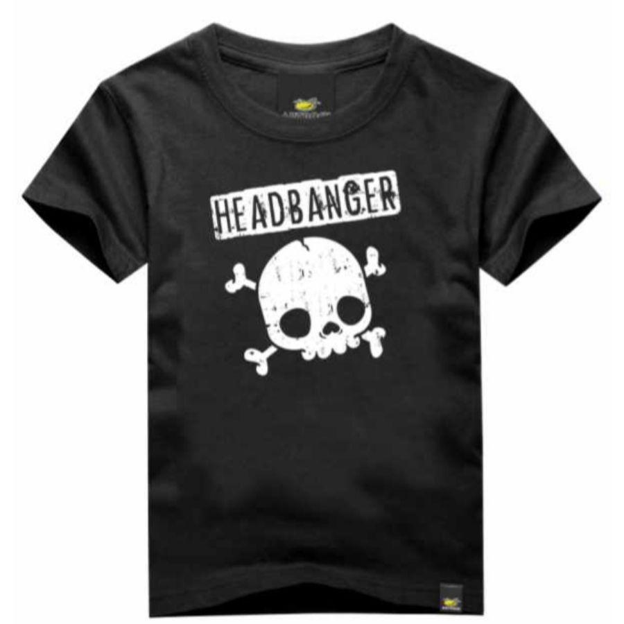 Camiseta Infantil Headbanger Preta Art Rock