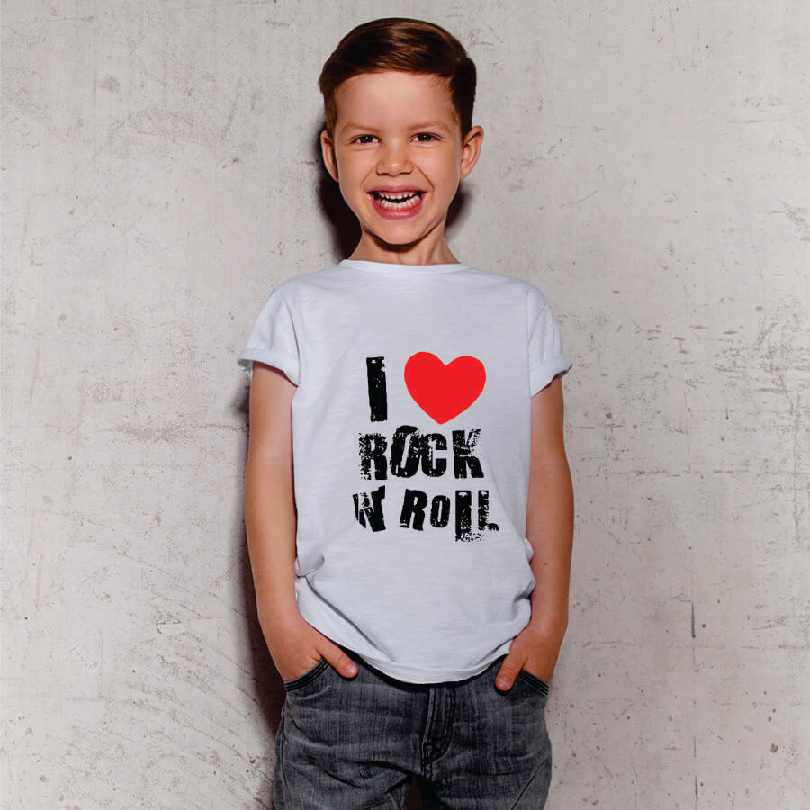 Camiseta Infantil I Love Rock N Roll Branca
