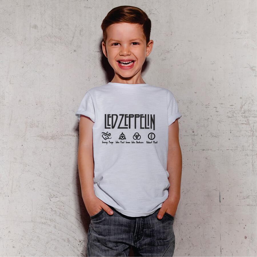 Camiseta Infantil Led Zeppelin Branca