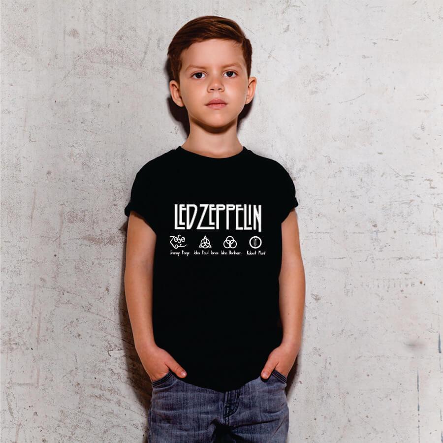 Camiseta Infantil Led Zeppelin Preta