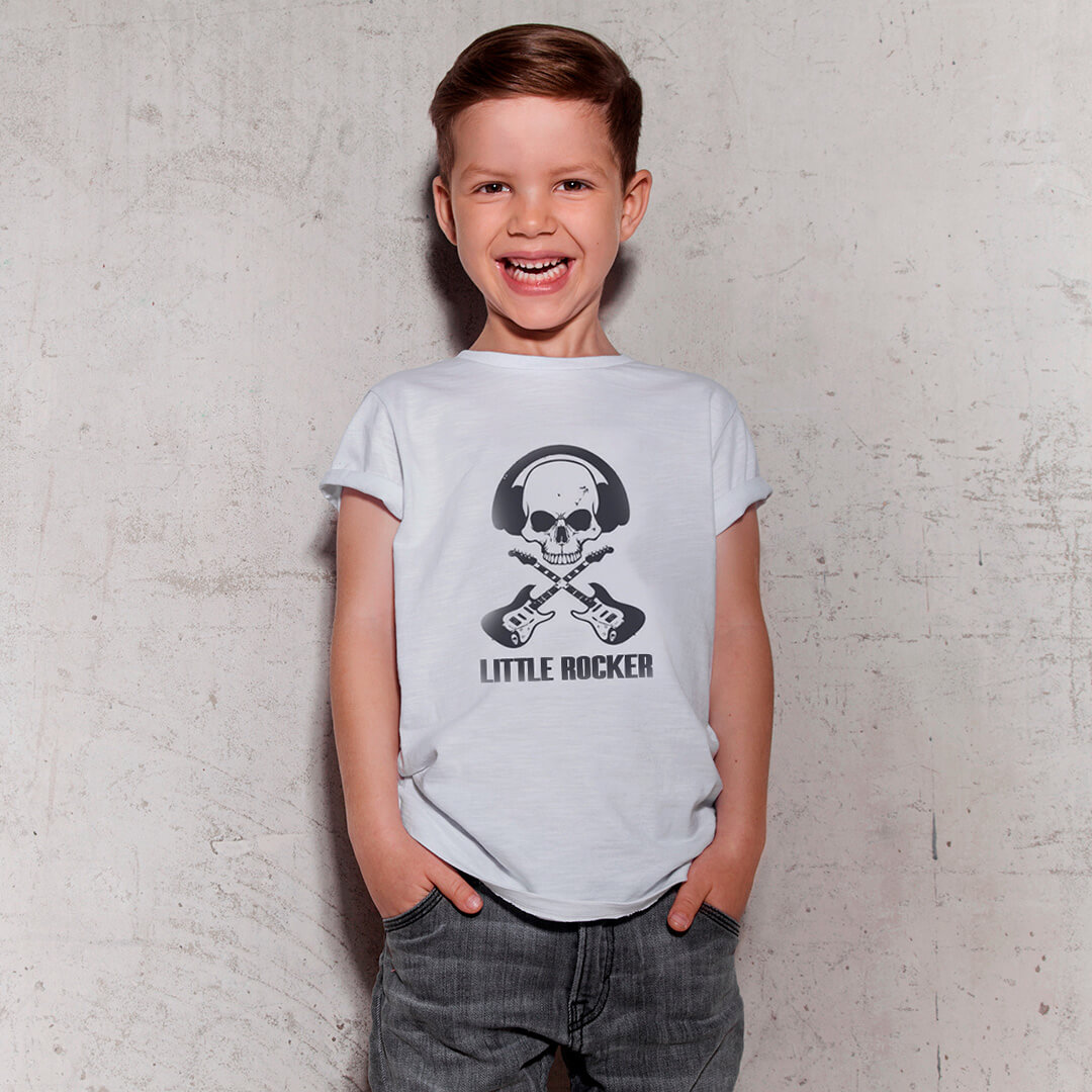Camiseta INFANTIL Little Rocker Guitarras Caveira