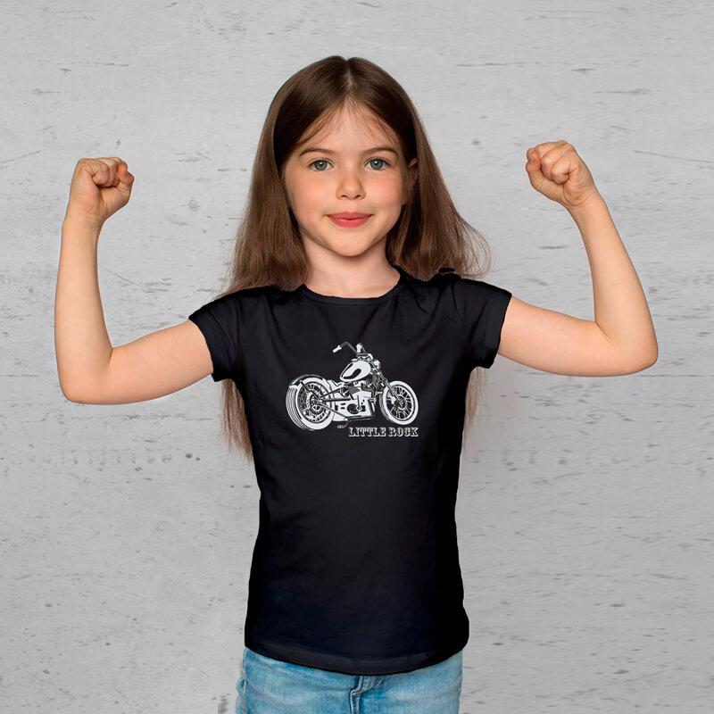 Camiseta Infantil Moto Little Rock Preta
