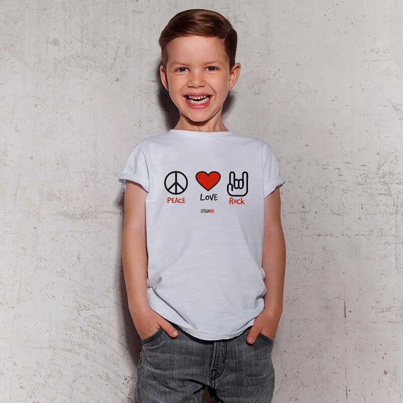Camiseta Infantil Paz Amor Rock Branca