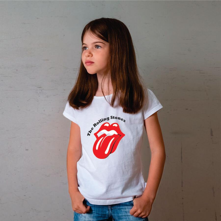 Camiseta Infantil Rolling Stones Branca