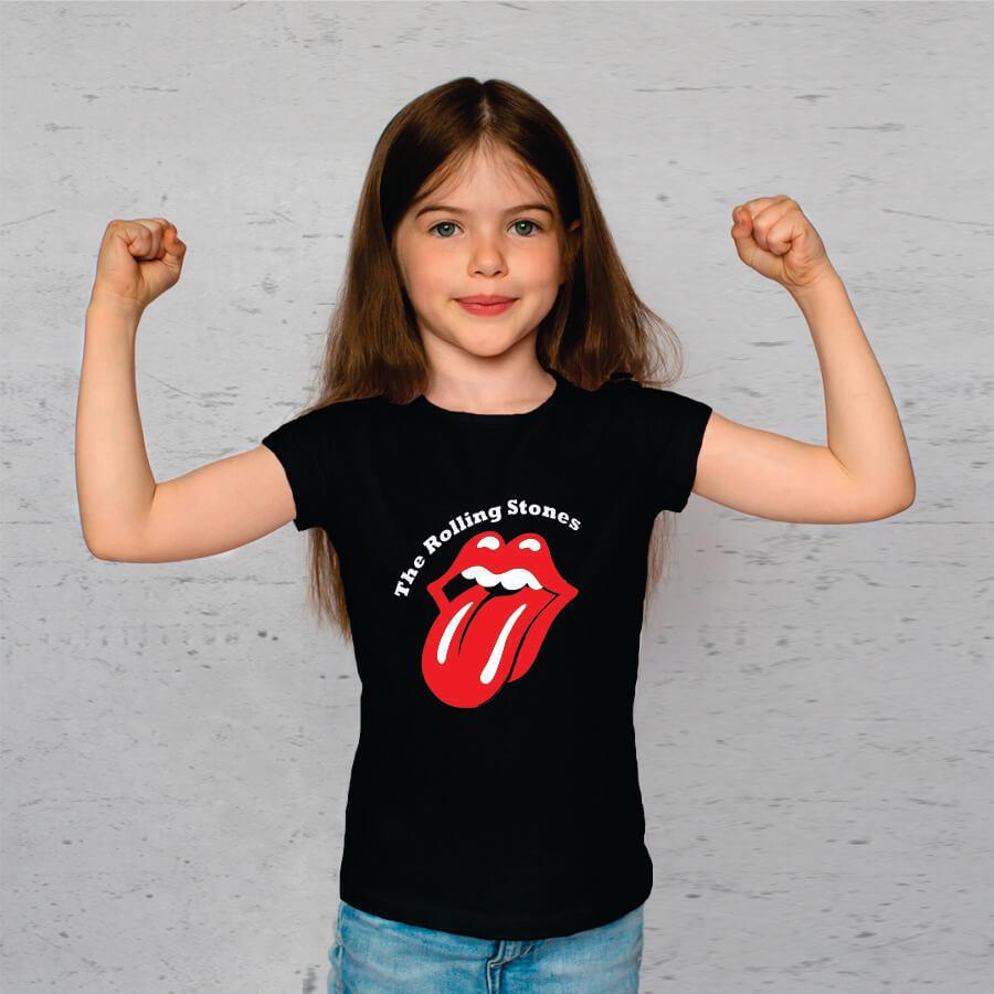 Camiseta Infantil Rolling Stones Preta