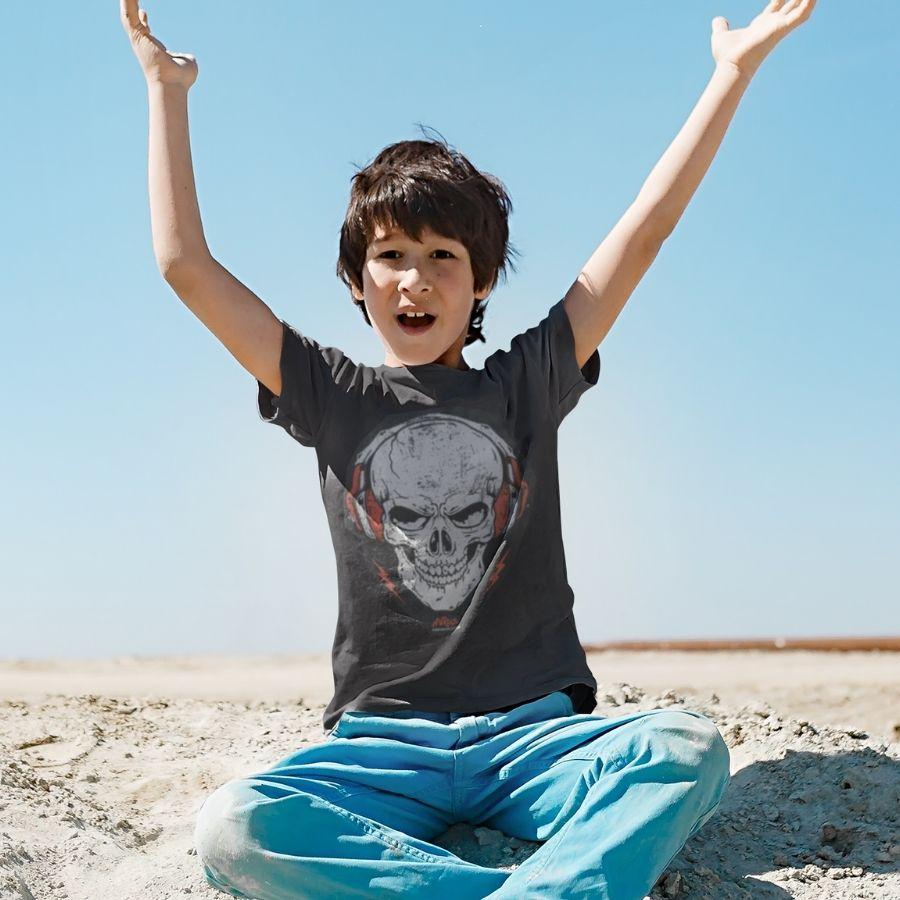 Camiseta Infantil Skull Caveira Rockstar Art Rock Preta