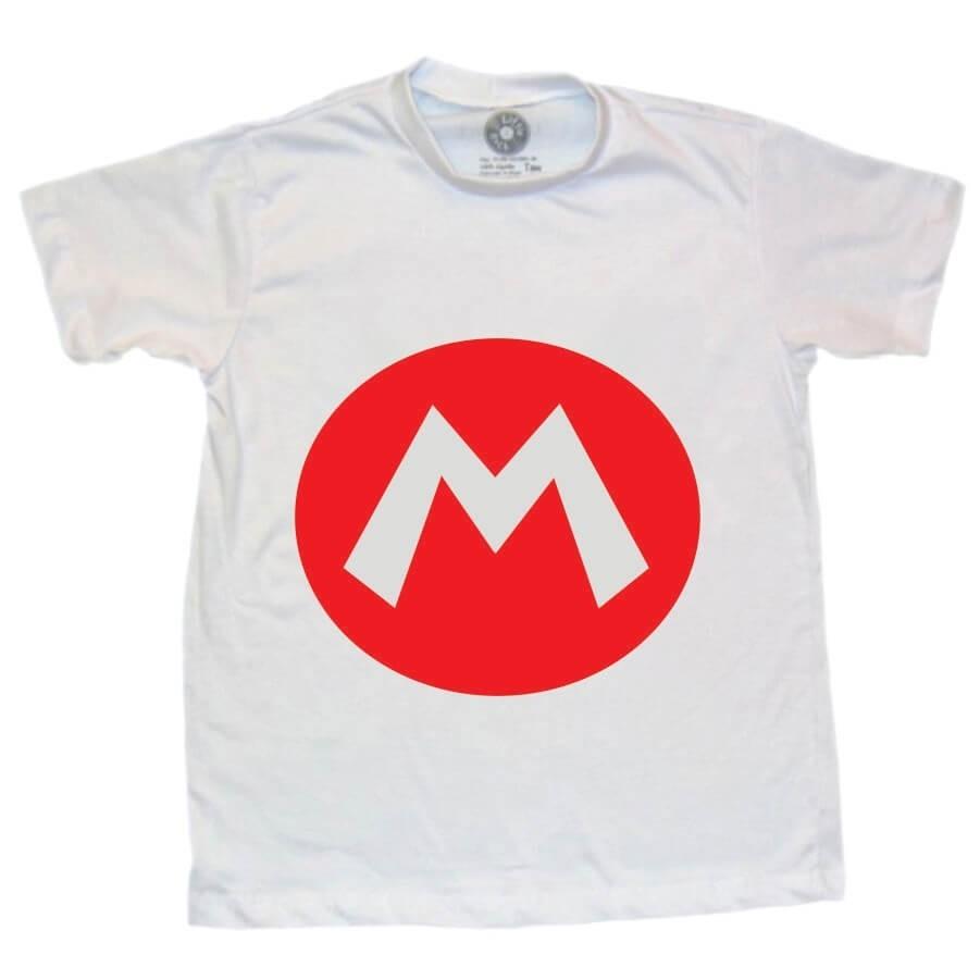 Camiseta Infantil Super Mario Bros Branca