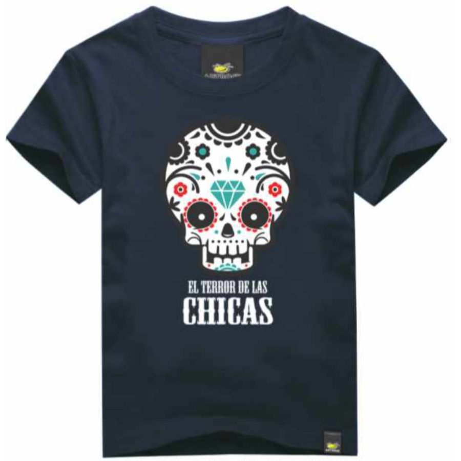Camiseta Infantil Terror de Las Chicas Azul Marinho Art Rock