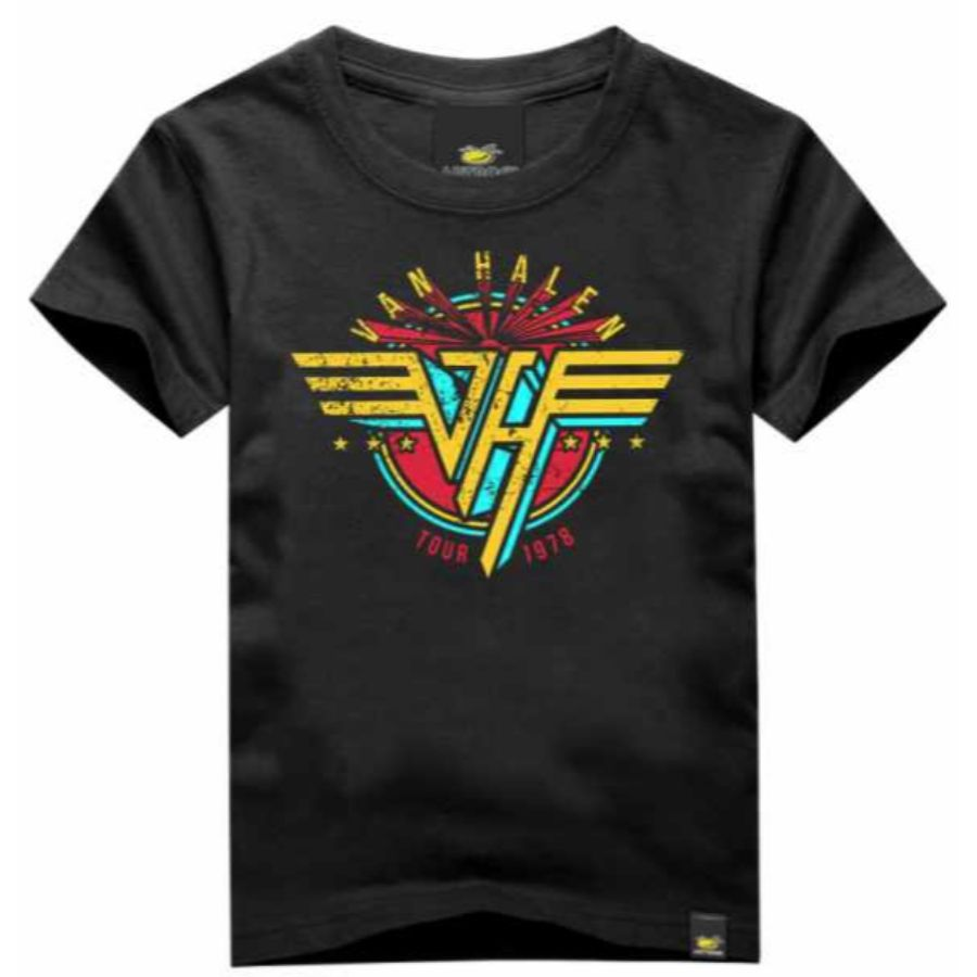 Camiseta Infantil Van Halen Preta Art Rock