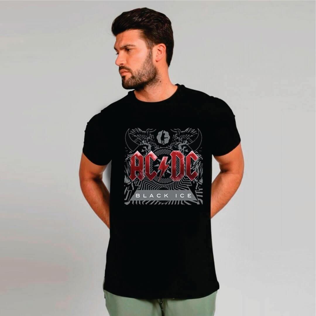 Camiseta Masculina Adulto AC/DC Black Ice STAMP