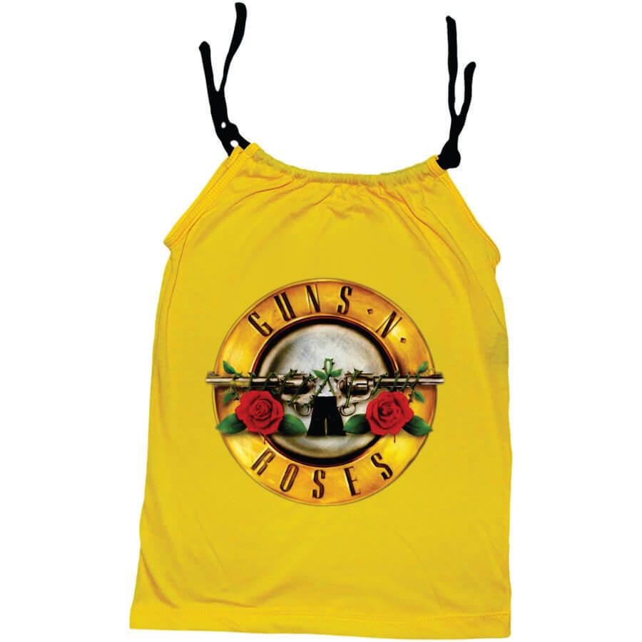 Camisola Little Rock Infantil Viscolycra Guns N Roses Amarela