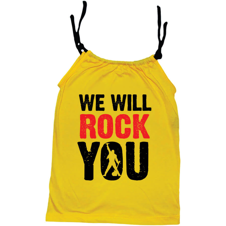 Camisola Little Rock Infantil Viscolycra Queen We Will Rock You Amarela