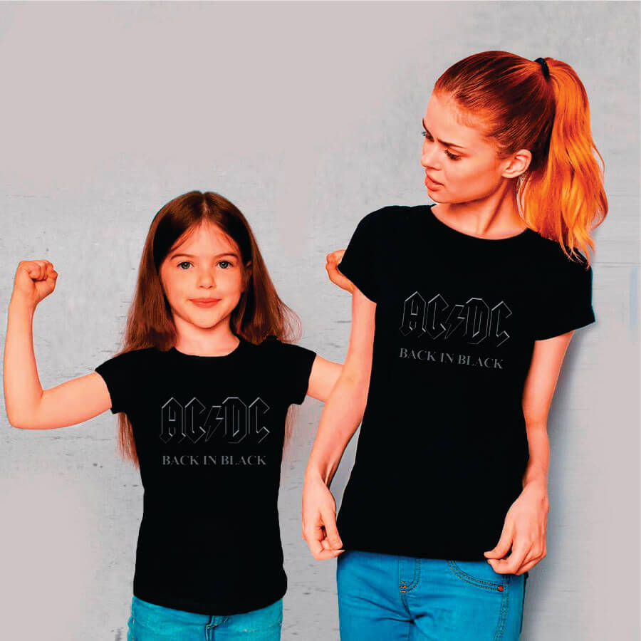 Kit Camisetas Mãe e Filha AC/DC Back in Black