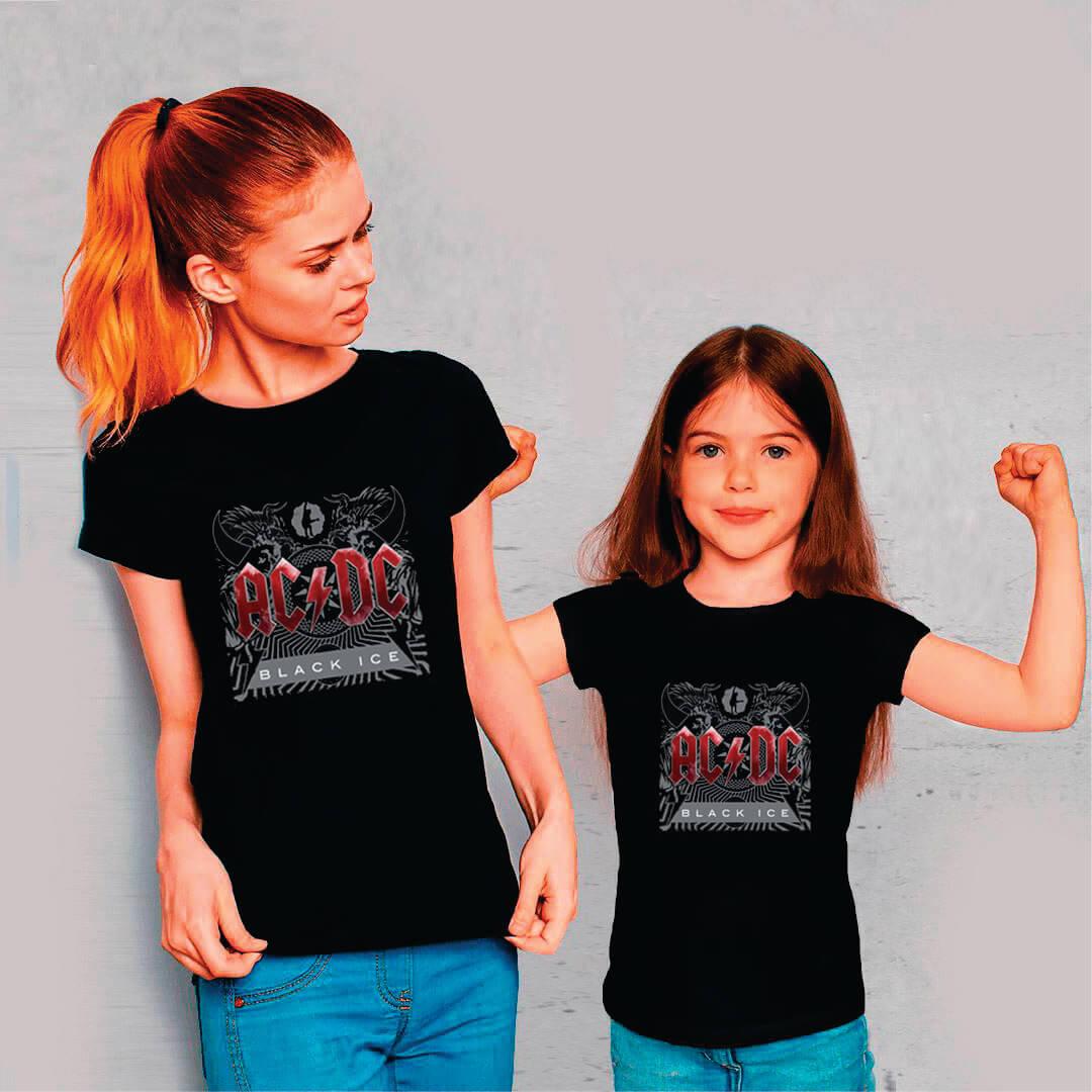 Kit Camisetas Mãe e Filha AC/DC Black Ice