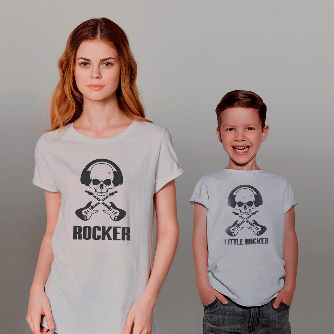 Kit Camisetas Mãe e Filha ROCKER CAVEIRA