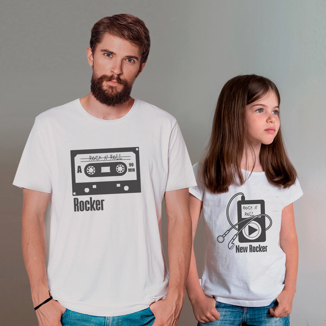 Kit Camisetas Pai e Filha Fita K7 IPHONE