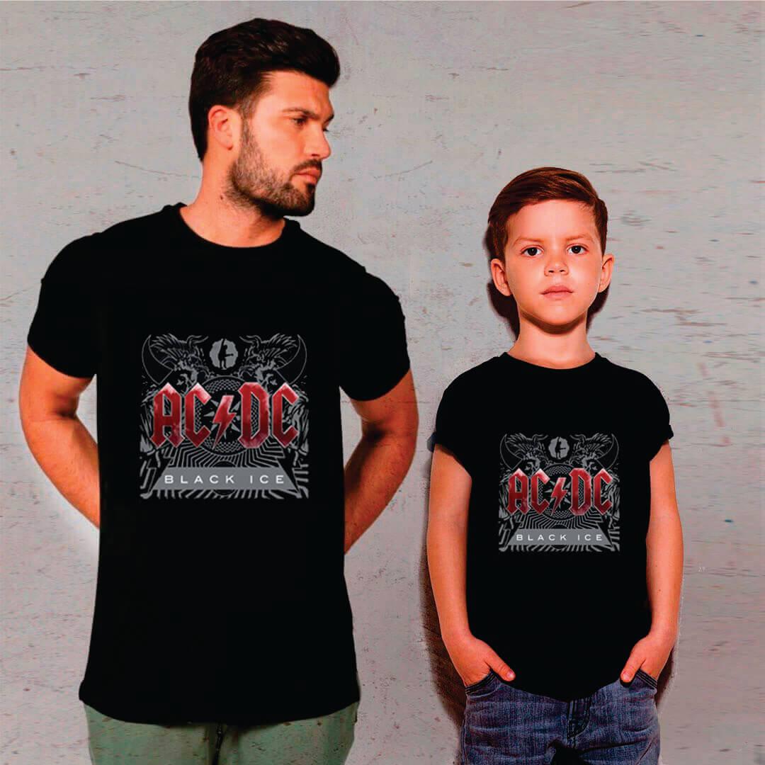 Kit Camisetas Pai e Filho AC/DC Black Ice