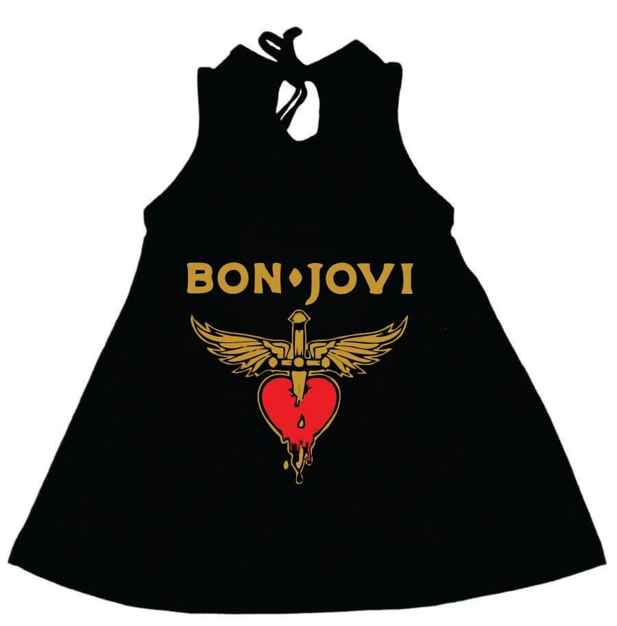 Vestido / Bata Bebê Bon Jovi Preto