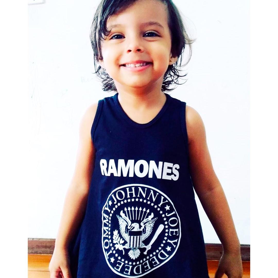Vestido / Bata Bebê Ramones Preto