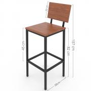 Cadeira Alta de Madeira HP-00882R Kit com 5