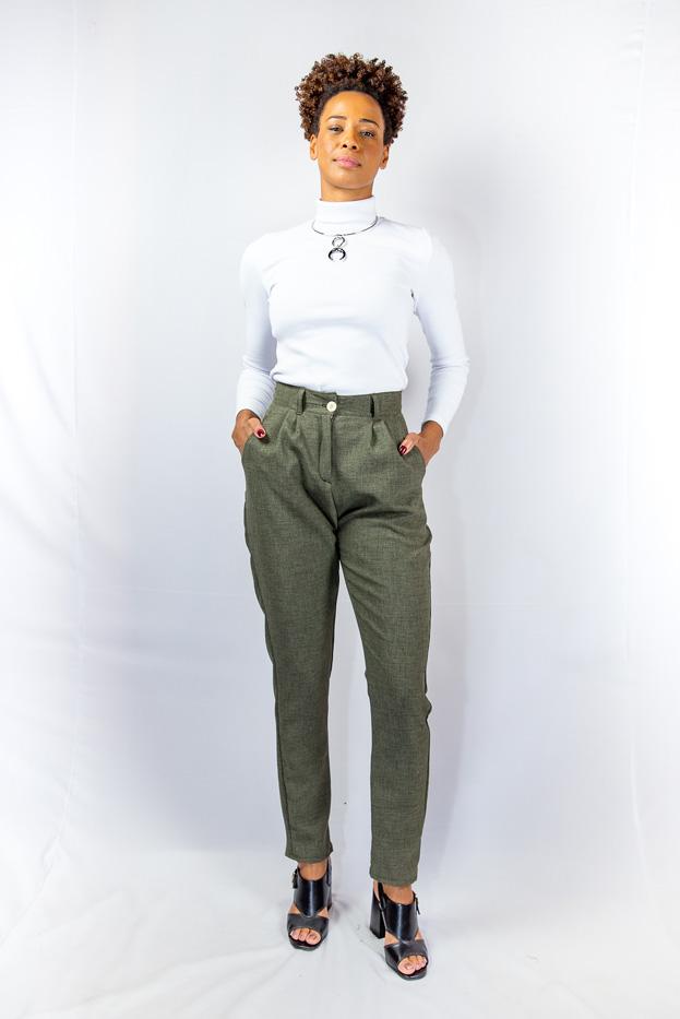 Calça alfaiataria vintage com pregas e cintura alta - KIGALI