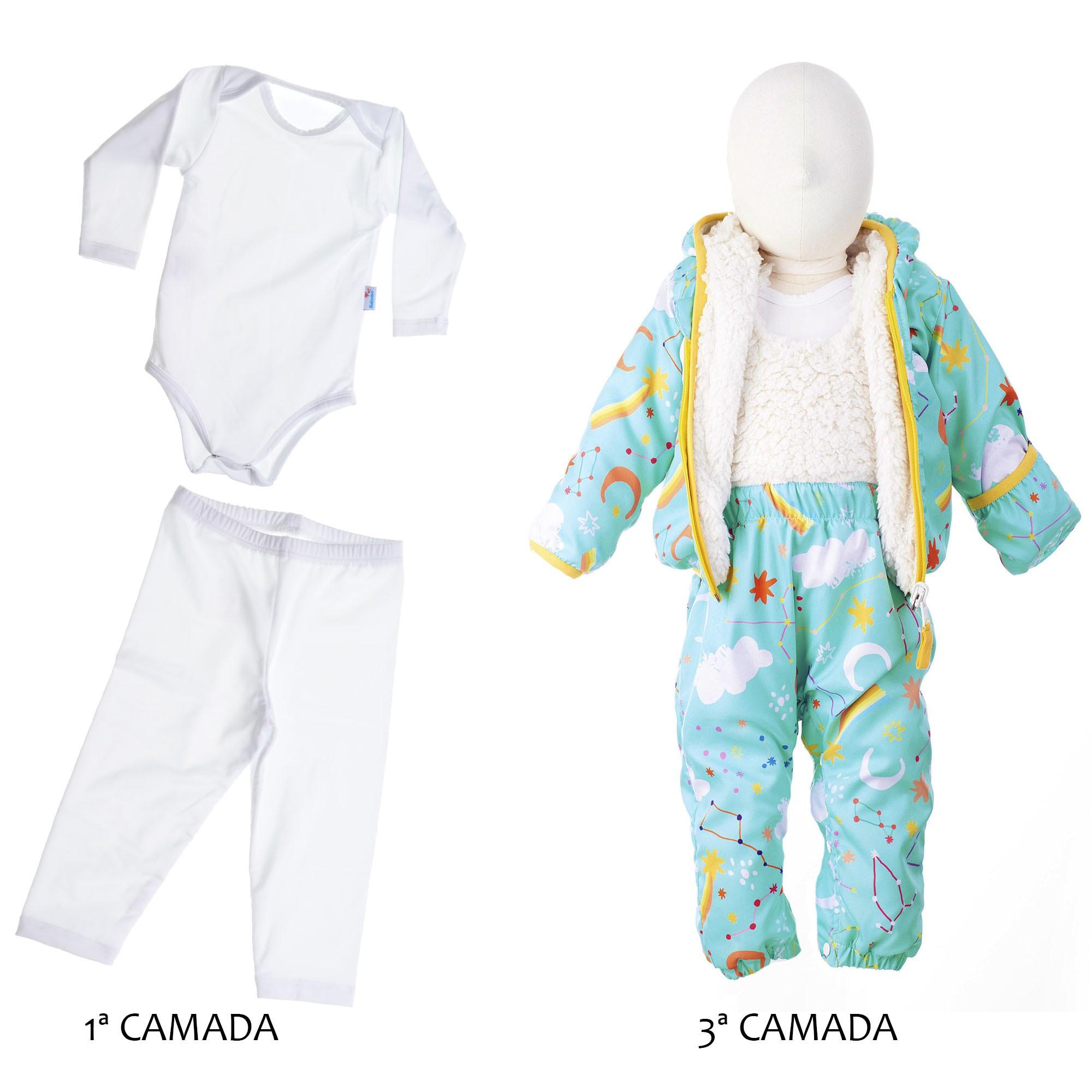 4 PEÇAS BABY - CONJUNTO INTERESTELAR E SEGUNDA PELE BRANCA