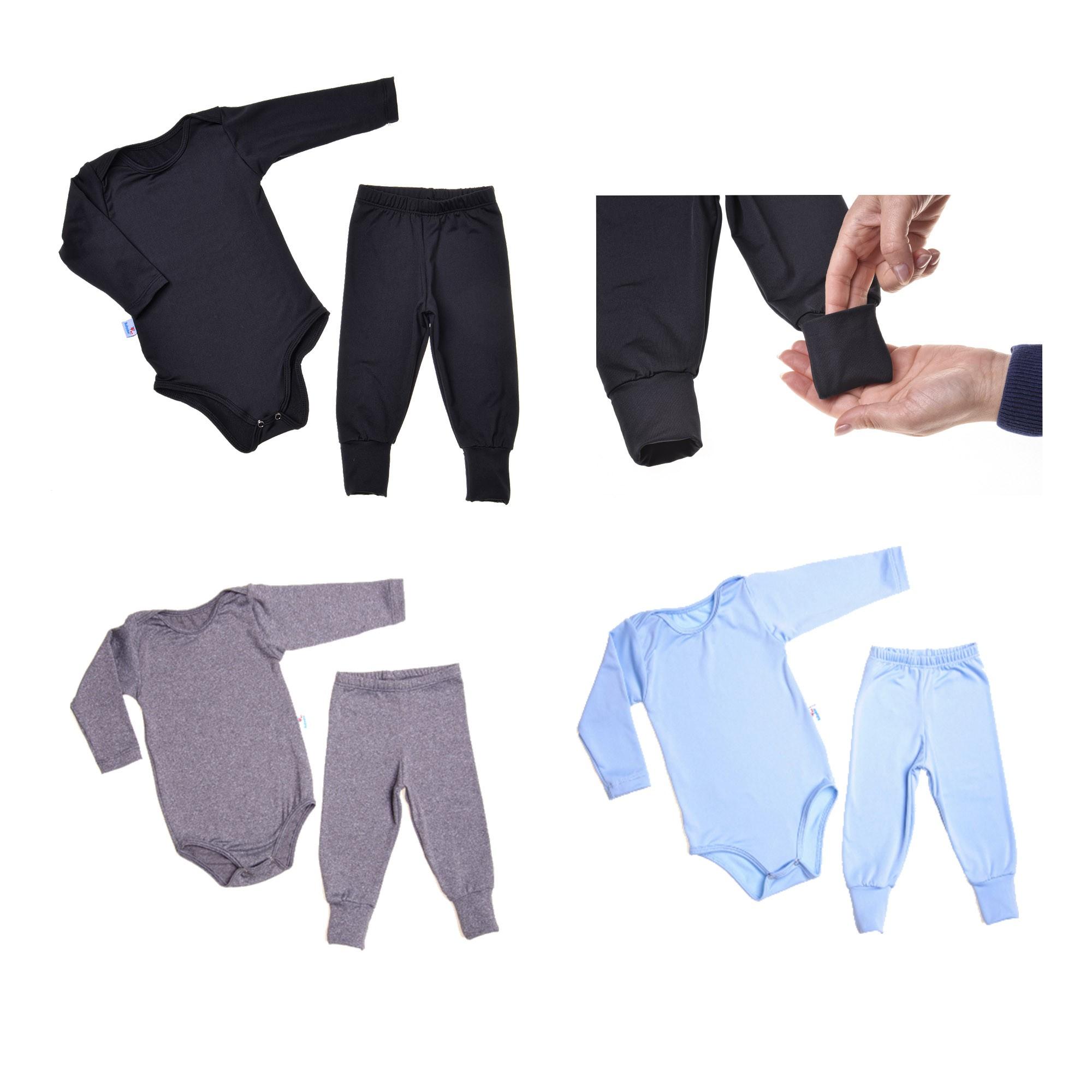 6 PEÇAS BABY - CONJUNTO SEGUNDA PELE BODY E CALÇA VIRA PUNHO