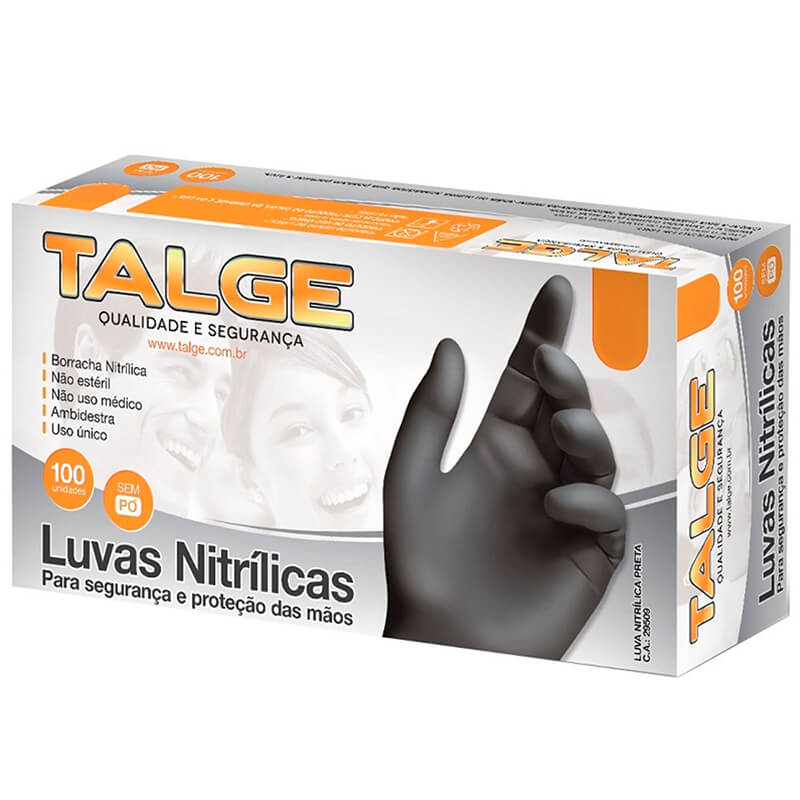 Luva Nitrílica Preta Talge - Caixa 100 unid.