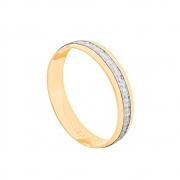 Aliança de Casamento Ouro 18k Friso Trabalhado em Ródio Branco 4 mm
