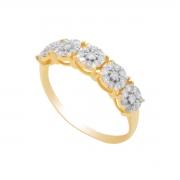 Anel Ouro 18k Meia Aliança Chuveirinho com Diamantes