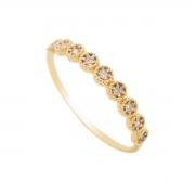 Anel Ouro 18k Meia Aliança com Diamantes