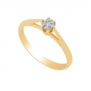 Anel Ouro 18k Solitário Chuveirinho com Diamantes
