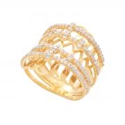 Anel Ouro 18k Vazado com Diamantes