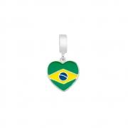 Berloque Prata 925 Coração Bandeira do Brasil 11 mm