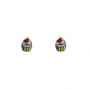 Brinco Ouro 18k Infantil Cupcake Colorido 8 mm