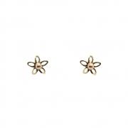 Brinco Ouro 18k Infantil Flor 6 mm