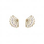 Brinco Ouro 18k Leque com Diamantes 17 mm