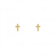 Brinco Ouro 18k Mini Cruz