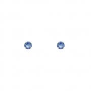 Brinco Ouro 18k Ponto de Luz Zircônia Azul 2 mm