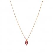 Gargantilha Ouro 18k com Topázio Rosa e Diamante Elo Veneziana 45 cm