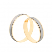 Par de Alianças de Casamento Ouro 10k com Filete em Ródio Branco 4 mm