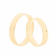 Par de Alianças de Casamento Ouro 18k Elegance Côncava 4,5 mm