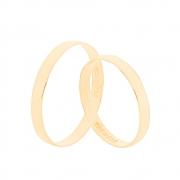 Par de Alianças de Casamento Ouro 18k Tradicional Lisa 2,5 mm