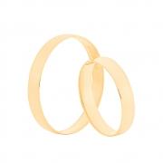 Par de Alianças de Casamento Ouro 18k Tradicional Lisa 3,5 mm