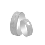Par de Alianças de Namoro Prata 925 Diamantada com Detalhe de Coração 7 mm