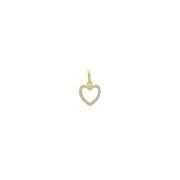 Pingente de Ouro 18k Coração com Zircônias Brancas 10 mm