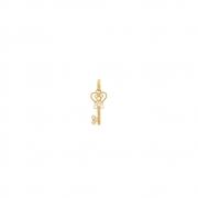 Pingente Ouro 18k Chave com Zircônia Branca 15 mm