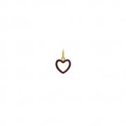 Pingente Ouro 18k Coração e Zircônia Vermelha 10 mm